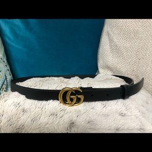 "Gucci 0.8"" Belt Gold Buckle Black Sz 75"